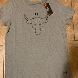 UNDER ARMOUR WOMEN PROJECT ROCK BULL TEE GREY NEW
